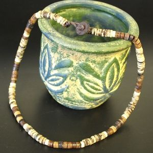 Natural Heishi Bone/Coconut Shell Beaded Necklace